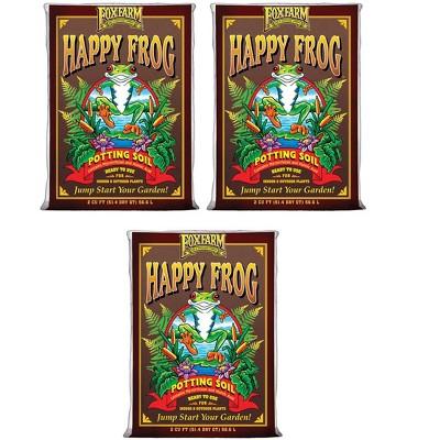 FoxFarm FX14047 Happy Frog pH Adjusted Garden Potting Soil Bag, 2 Cu Ft (3 Pack)