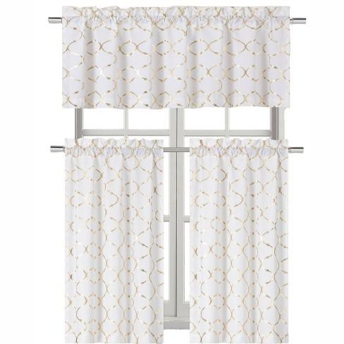 Kate Aurora Living  Metallic Foil Lattice Kitchen Curtain Tier & Valance Set - image 1 of 1