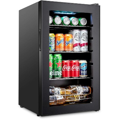Ivation 101 Can Beverage Refrigerator | Freestanding Ultra Cool Mini Drink Fridge | Beer, Cocktails, Soda, Juice Cooler for Home & Office | Reversible Glass Door & Adjustable Shelving