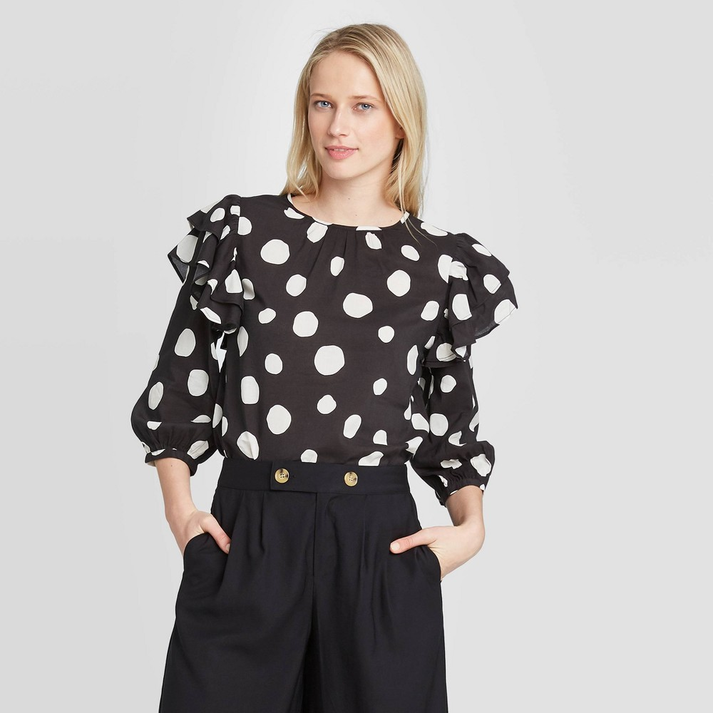 Vintage Tops & Retro Shirts, Halter Tops, Blouses Women39s Polka Dot 34 Sleeve Blouse - Who What Wear8482 $29.99 AT vintagedancer.com