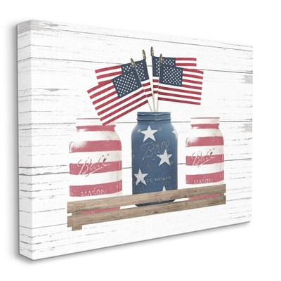 Stupell Industries Rustic Patriotic Jars American Pride Flag Design