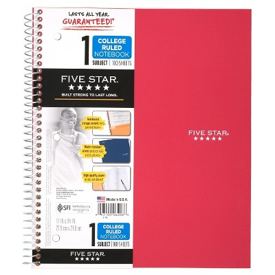 Five Star 1 Subject College Ruled Spiral Notebook (Color Will Vary)