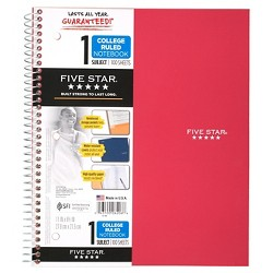 Spiral Notebook 1 Subject College Ruled Colors May Vary - Five Star