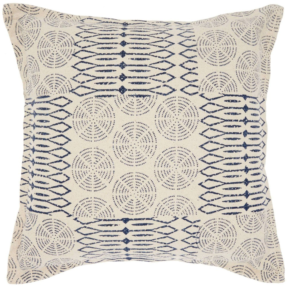 Image of Life Styles Printed Circle Patch Oversize Square Throw Pillow Indigo - Nourison, Blue