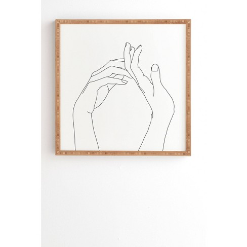 The Colour Study Hands line drawing Framed Wall Art Black - Deny Designs - image 1 of 4