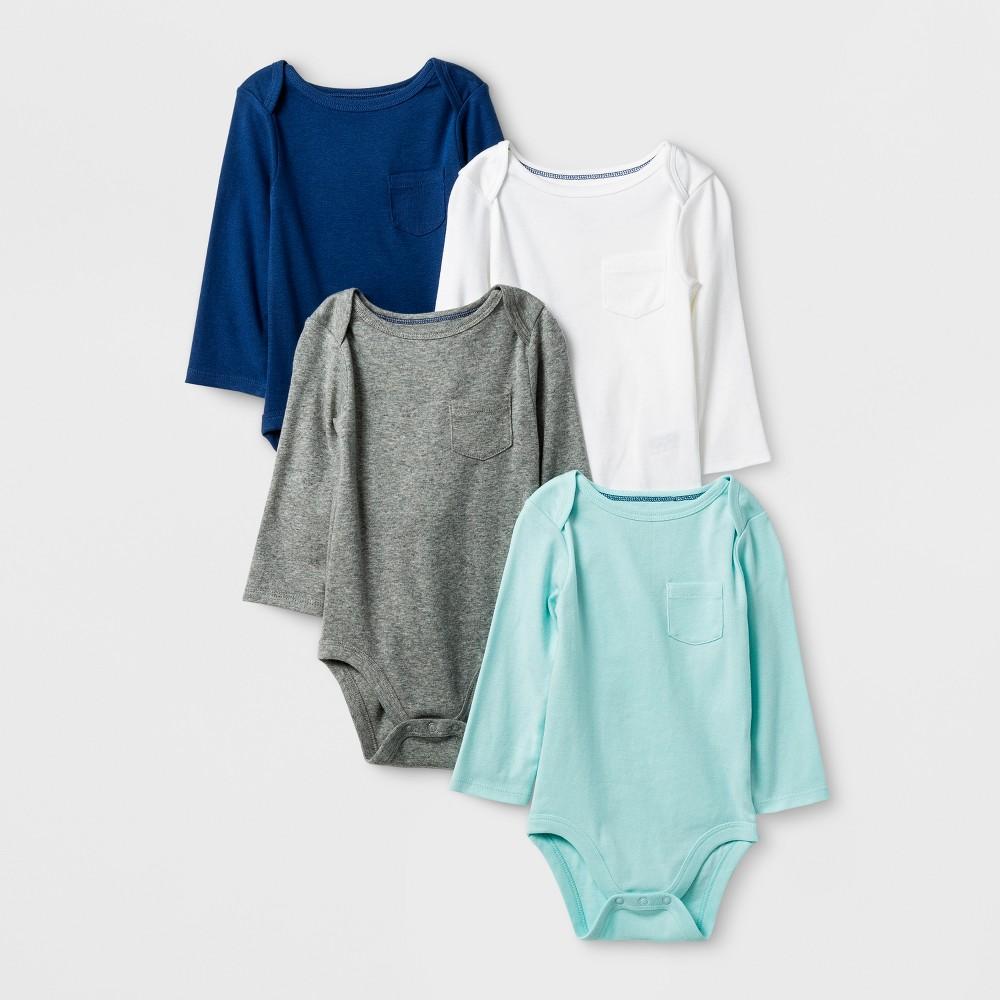 Baby Boys' 4pk Long Sleeve Bodysuits Cloud Island - True Navy 12M, Blue