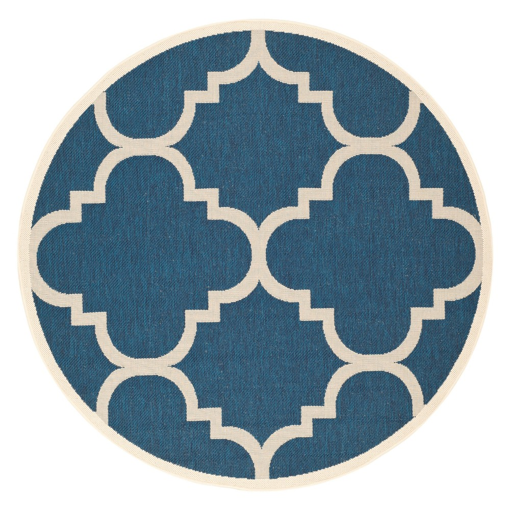 Richmond Round 7'10 Outer Patio Rug - Navy / Beige - Safavieh, Blue