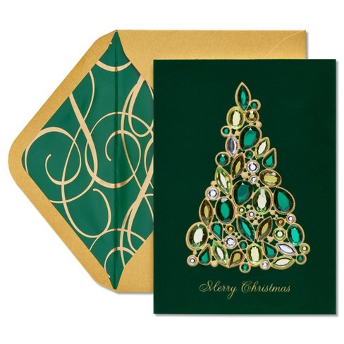 Papyrus Christmas Cards.Jeweled Christmas Tree Card Papyrus