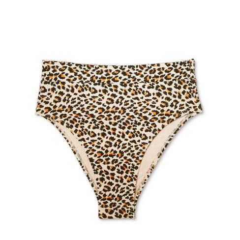 fe100ee6eecd1 Women s Ribbed Cheeky High Leg High Waist Bikini Bottom - Xhilaration™  Animal Print L
