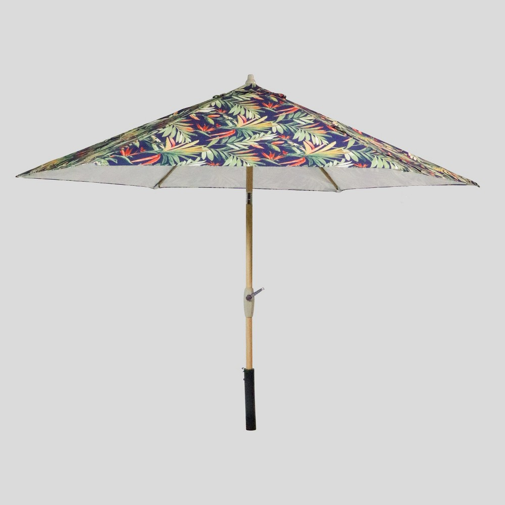 9' Round Jungle Tropical Patio Umbrella Navy - Light Wood Pole - Threshold