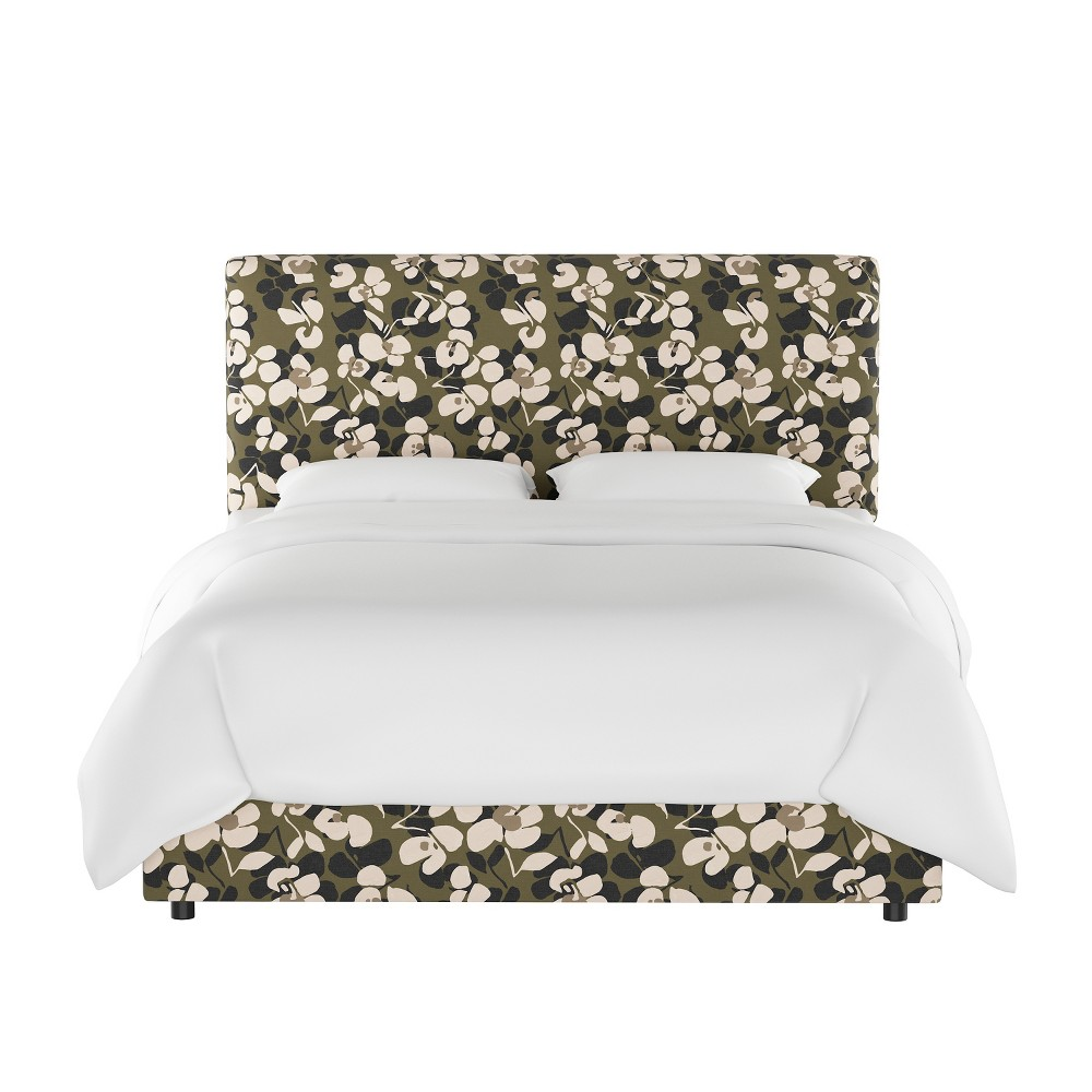 Queen Olivia Upholstered Bed Neutral Floral - Cloth & Co.