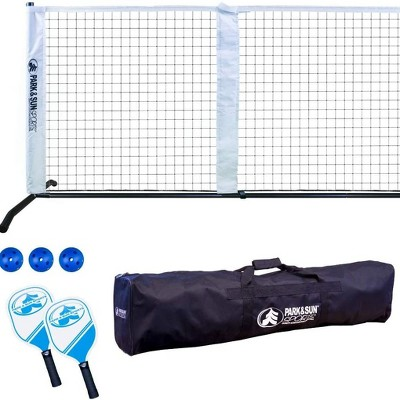 Park & Sun Sports 21 Inch Portable Pickleball and Tennis Play Outdoor Game Net & Set with 2 Paddles, 3 Plastic Balls, and Carrying Travel Case