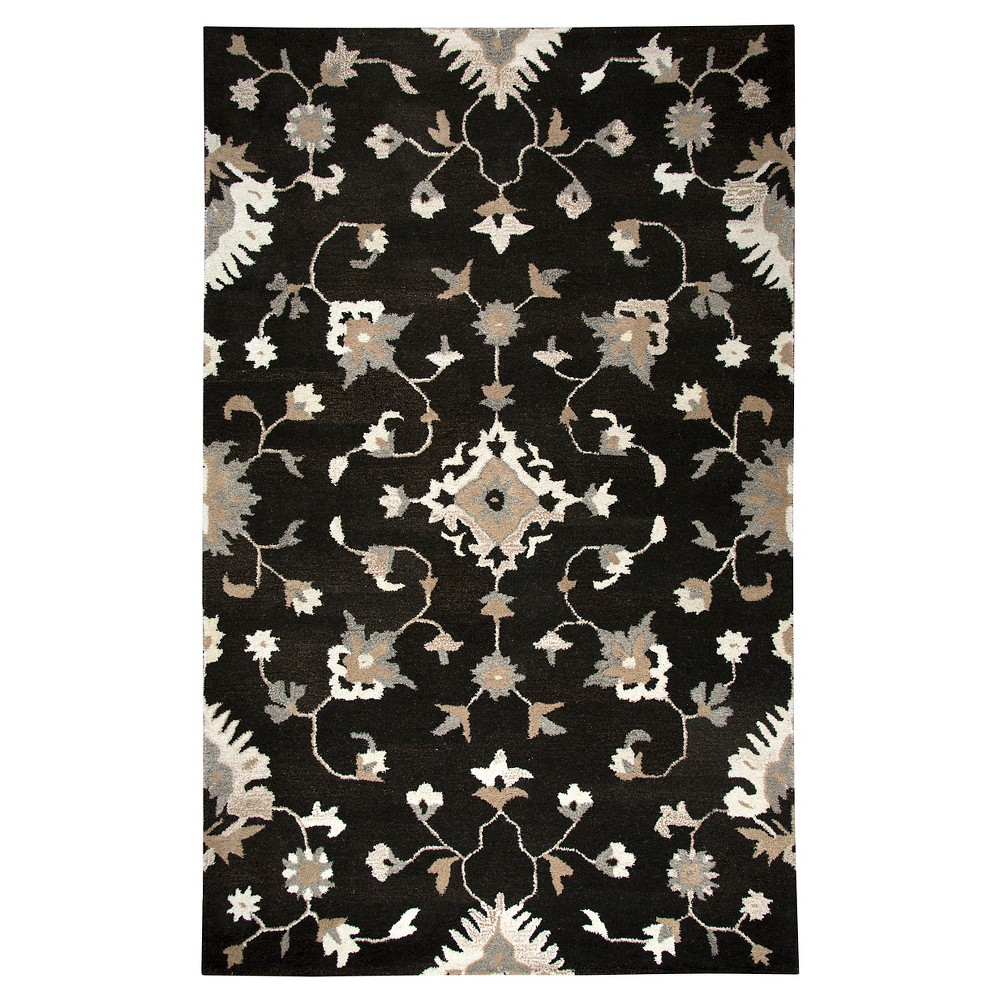 Oriental/Floral Rug - Brown - (5'X8') - Rizzy Home, Black
