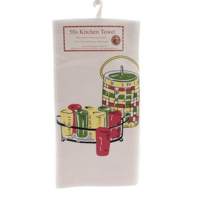 """Tabletop 24.0"""" Keeping Cool Flour Sack Towel 50'S Kitchen 100% Cotton Red And White Kitchen Company  -  Kitchen Towel"""