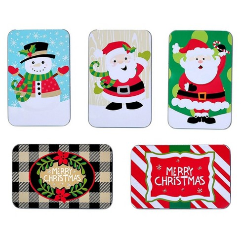 """Juvale 5-Piece Assorted Christmas Card Tin Holders Box Set with Lid for Gift & Card, 4.9""""x3.2""""x0.8"""", Assorted Designs - image 1 of 4"""
