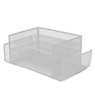 Mind Reader Mesh 4 Section 2 Side Desk Organizer White