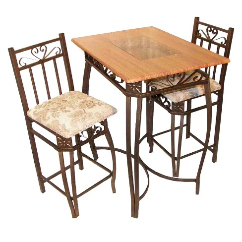 3pc Bar Height Table Set - Cherry - Home Source - image 1 of 8