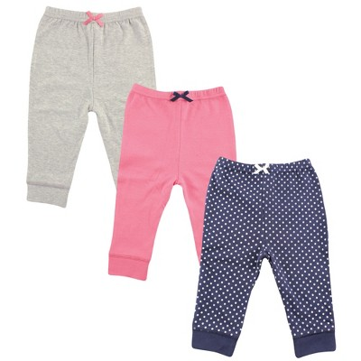 Luvable Friends Baby and Toddler Girl Cotton Pants 3pk, Navy Polkadot