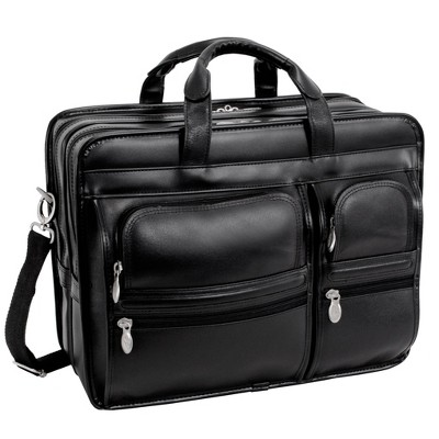 'McKlein Clinton 17'' Leather Patented Detachable - Wheeled Laptop Briefcase (Black), Size: Small'