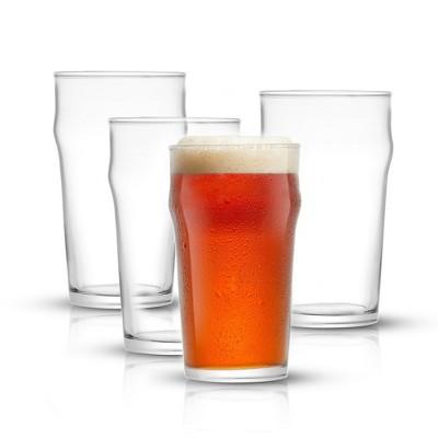 JoyJolt Grant Beer Glasses - Set of 4 - Traditional Pub Glass 1.2 Pint Capacity Beer Glass  - 19 oz