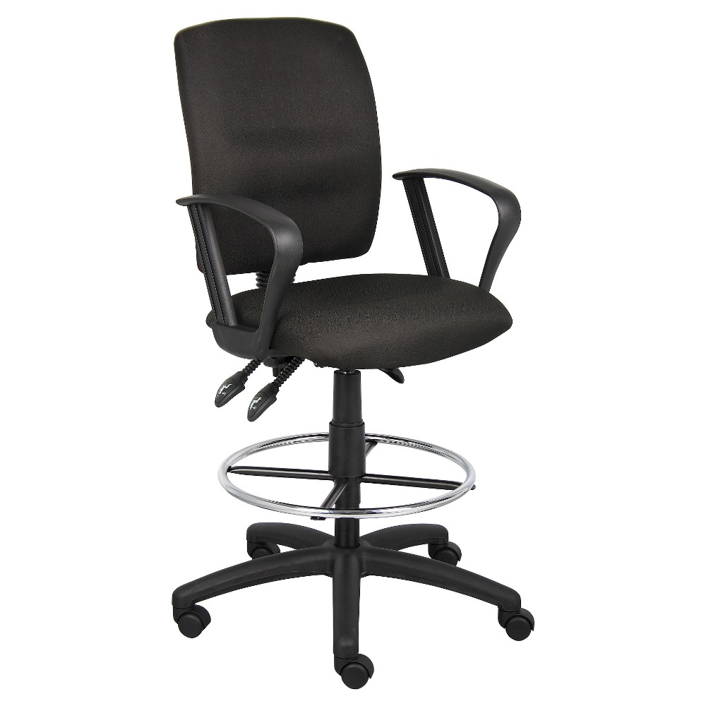 Multi-Function Fabric Drafting Stool with Loop Arms Black - Boss Office Products