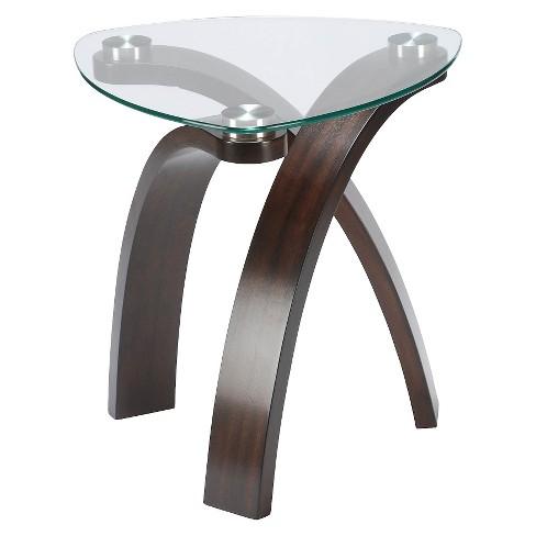 allure wood and glass oval end table hazelnut glass magnussen home target. Black Bedroom Furniture Sets. Home Design Ideas