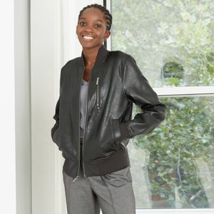 Women's Faux Leather Bomber Jacket - A New Day™ Black : Target