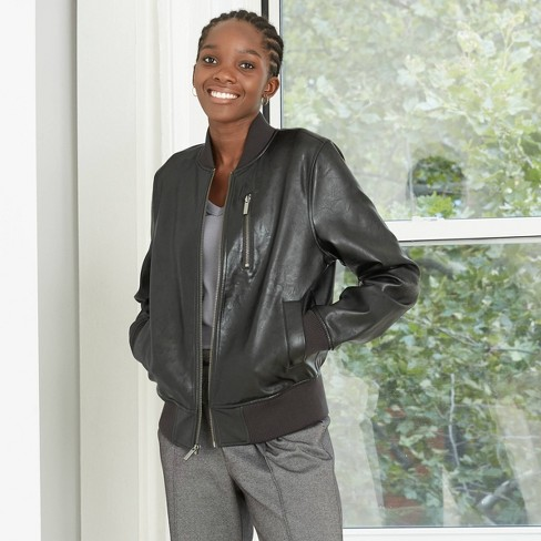 Women's Faux Leather Bomber Jacket - A New Day™ Black - image 1 of 3