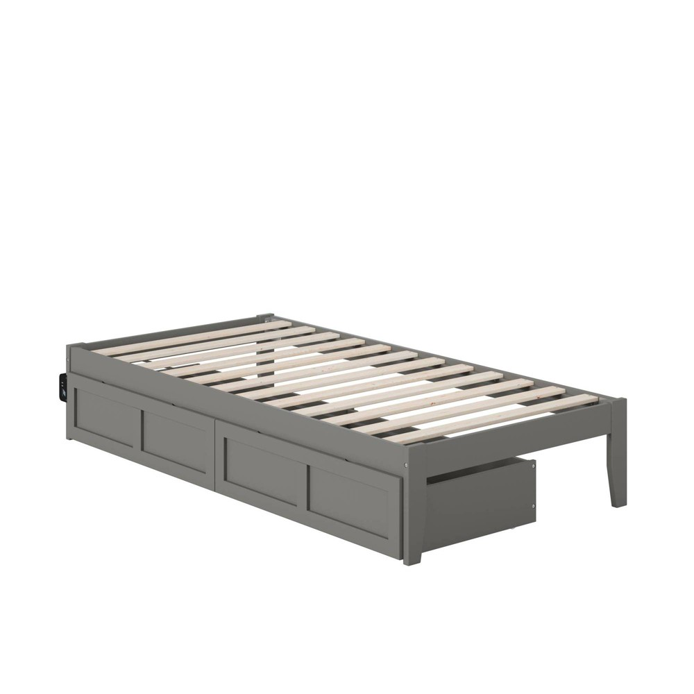 Twin Colorado Bed With Usb Turbo Charger And 2 Drawers Gray Atlantic Furniture