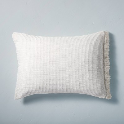 Standard Textured Fringe Pillow Sham Sour Cream - Hearth & Hand™ with Magnolia