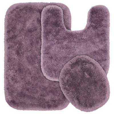 3pc Finest Luxury Ultra Plush Washable Nylon Bathroom Rug Set - Garland