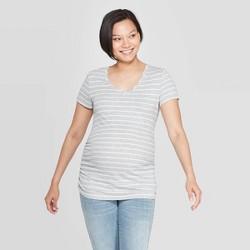 Maternity Striped Short Sleeve Shirred V-Neck T-Shirt - Isabel Maternity by Ingrid & Isabel™ Heather Gray