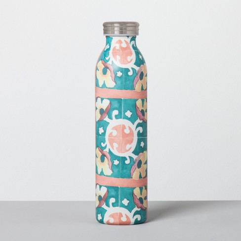 Stainless Steel Water Bottle 20oz - Flower Peach/Turquoise - image 1 of 1