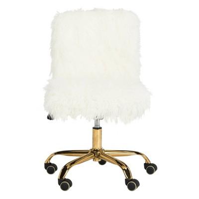 Whitney Faux Sheepskin Chrome Leg Swivel Office Chair - Safavieh