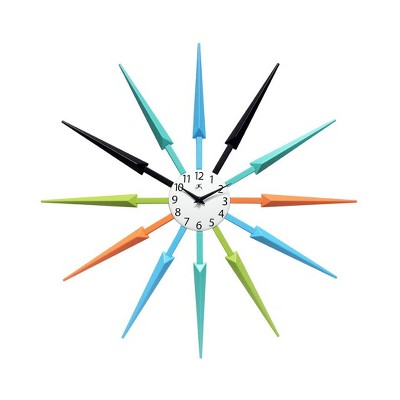 Infinity Instruments 15555MC Mid Century Modern 24 Inch Wall Clock, Multicolor