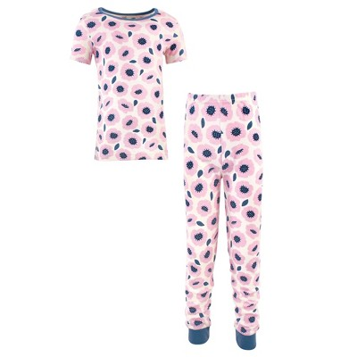 Touched by Nature Toddler and Kids Girl Organic Cotton Tight-Fit Pajama Set, Blossoms