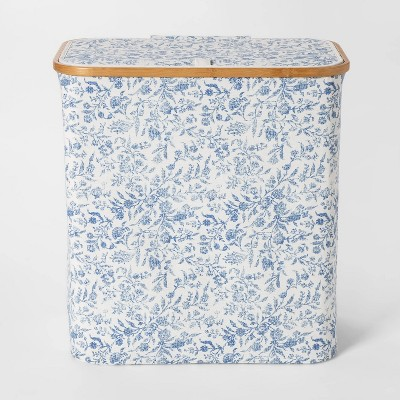 Soft Sided Laundry Hamper With Bamboo Rim Lid - Floral Blue - Threshold