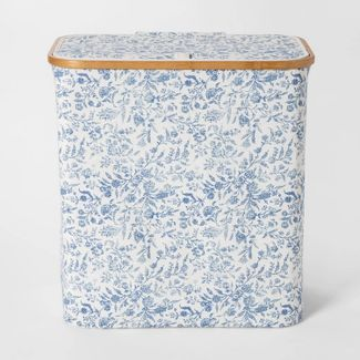 Soft Sided Laundry Hamper With Bamboo Rim Lid Floral Blue - Threshold™