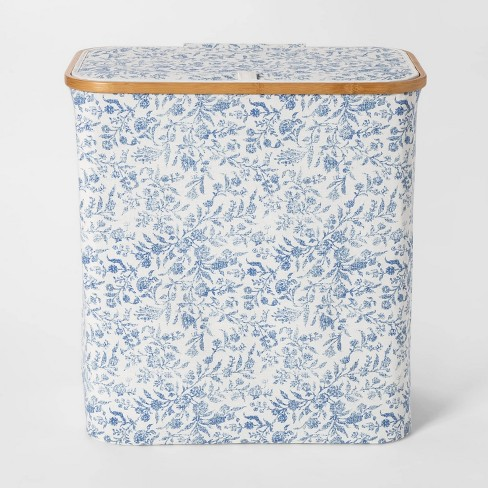 Soft Sided Laundry Hamper With Bamboo Rim Lid - Floral Blue - Threshold™ - image 1 of 2