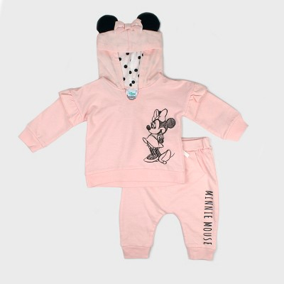 Baby Girls' Disney Mickey Mouse & Friends Minnie Mouse Hooded Sweatshirt and Kangaroo Pocket Joggers Set - Pink 0-3M