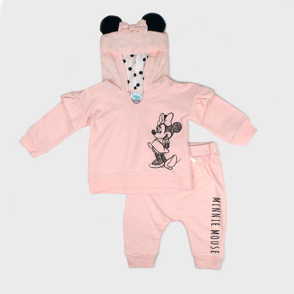 Image of Baby Girls' Disney Mickey Mouse & Friends Minnie Mouse Hooded Sweatshirt and Kangaroo Pocket Joggers Set - Pink Newborn, Girl's