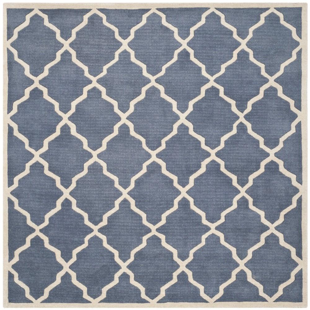 5'X5' Quatrefoil Design Tufted Square Area Rug Gray - Safavieh