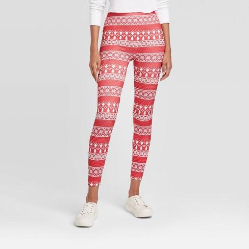 Women's Fairisle Holiday Fleece Lined Seamless Leggings - Wondershop™ Red/White - image 1 of 2