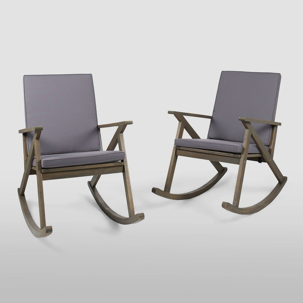 Image of Gus 2pk Acacia Wood Rocking Chair - Gray/Gray - Christopher Knight Home