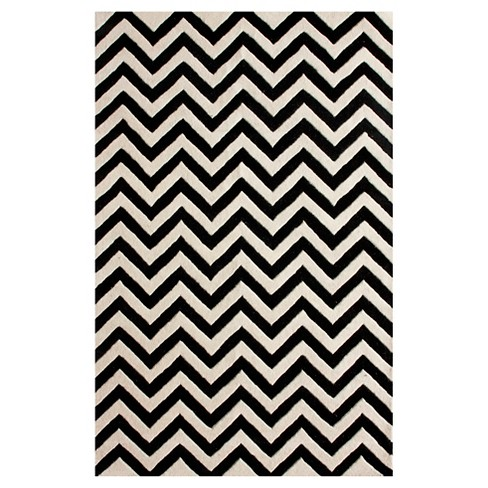 "nuLOOM 100% Wool Hand Tufted Chevron Area Rug - Black (7' 6"" x 9' 6"") - image 1 of 2"