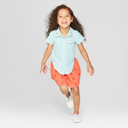Toddler Girls' 2pc Button-Down Shirt and Skirt Set - Genuine Kids® from OshKosh Aqua/White Coral - image 1 of 3