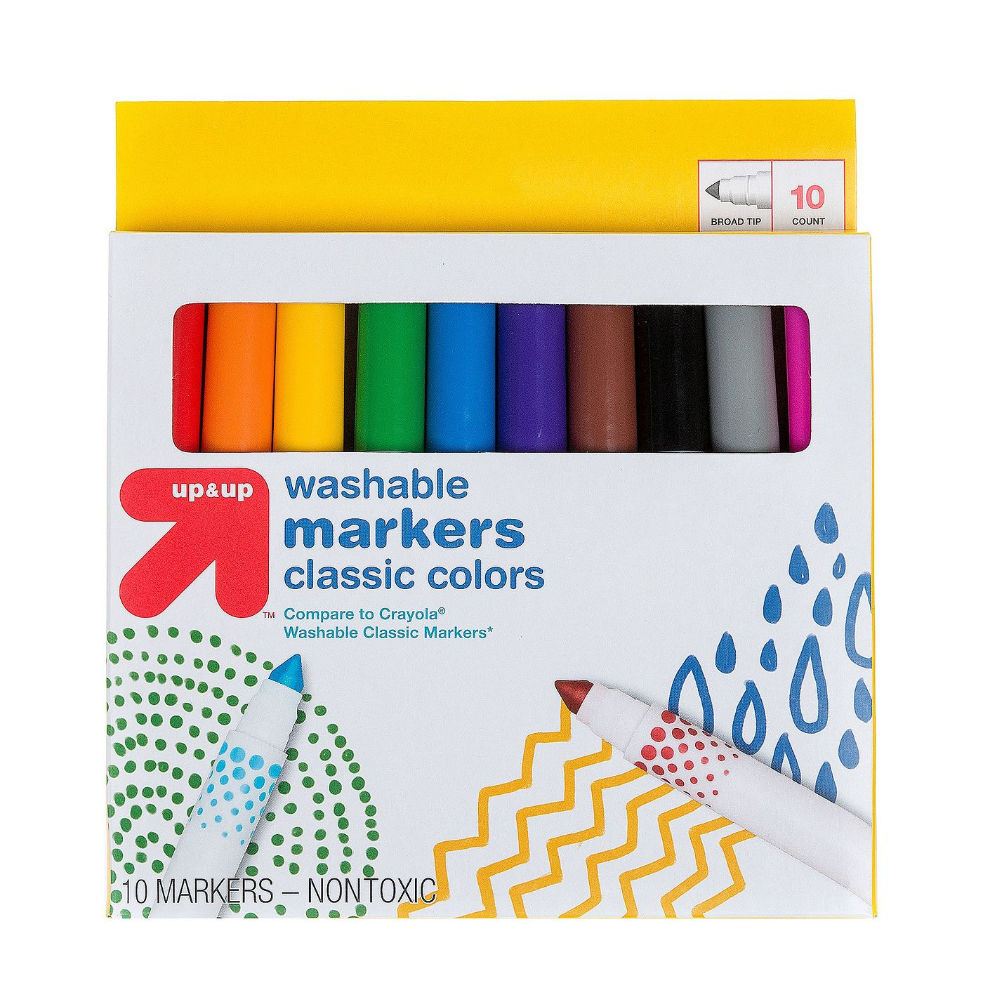 10-Count Up&Up Markers Broad Tip Washable Classic Colors
