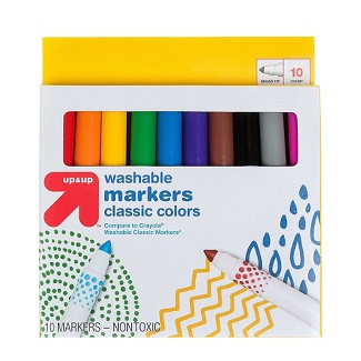 Markers Broad Tip Washable Classic Colors 10ct (Compare to Crayola® Washable Classic Markers) - Up&Up™