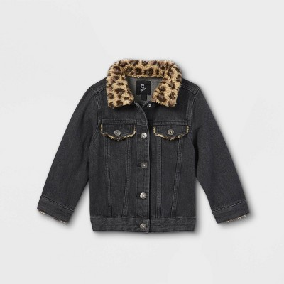Toddler Girls' Leopard Sherpa Jean Jacket - art class™ Black