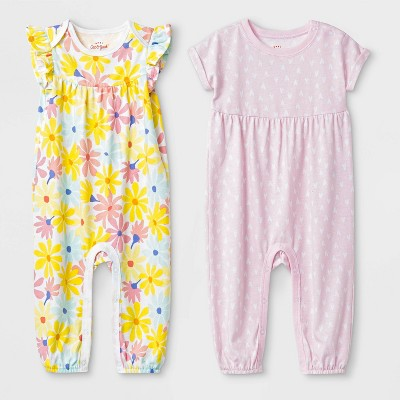 Baby Girls' 2pc Flutter Sleeve Floral and Short Sleeve Heart Rompers - Cat & Jack™ Pink/Yellow 6-9M